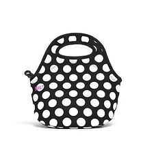 BUILT NY Gourmet Getaway Neoprene Mini Snack Tote, Big Dot Black White NEW