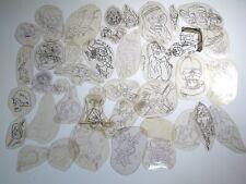 vtg 1960s 1970s Tattoo acetate stencil asstd Skulls Skeletons TX SK4