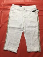 INC International Concepts Tropic Heat Capris Size 2 White Linen Sequenced NWT