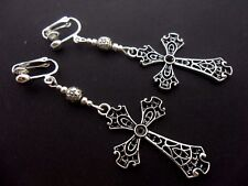 A PAIR OF LONG CROSS CRUCIFIX GOTH  MADONNA CLIP ON EARRINGS. NEW.