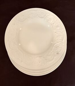"4 Wedgwood Patrician Embossed Cream Dinner Plate 10 1/2"""