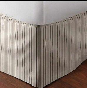 NIP $130 Ralph Lauren Queen Bedskirt Bleecker Street Ivory/Black 100% Cotton