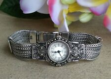 """Sterling Silver Foxtail Bracelet Watch Accented With Marcasite Handcrafted 7"""" L"""