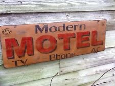 Route 66 MODERN MOTEL AAA TV Phone AC Hand Painted Wooden Sign