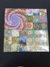 Lot of 4 BLOTTER ART- Colorful 2- perforated sheet paper psychedelic art