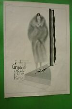 1925 Original Art Deco Listing Print Fourrures Grunwaldt Illustrator Guys
