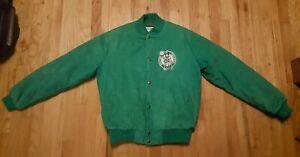 Vintage 80s Boston Celtics Chalk Line Jacket Green Corduroy Button Up Size Large