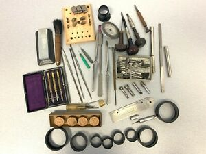 OLD TOOL ASSORTMENT - ANTIQUE VINTAGE WATCHMAKER JEWELER TOOLS - ONE PRICE