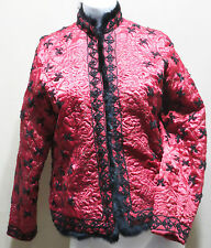STUNNING MIRASOL SATINY RED QUILTED JACKET W/ BLACK FUR TRIM & EMBROIDERY SIZE M