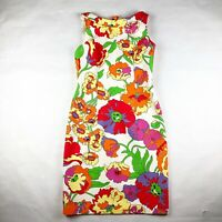 David Meister Womens Size 6 Bold Mod Floral Quilted Sheath Dress