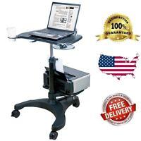 New Aidata Ergonomic Sit-Stand Mobile Laptop Cart Work Station + Printer Shelf