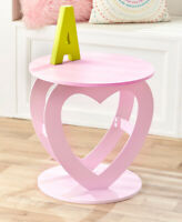 Pink Heart Shaped Icon End Side Accent Table Bedroom Living Room Home Decor