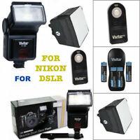 VIVITAR ZOOM HD FLASH + CHARGER + DIFFUSER + REMOTE FOR NIKON D3100 D3200 D3300