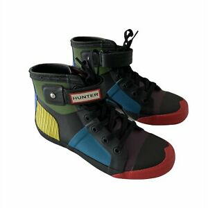 Hunter Size 5 UK Lace Up High-Top Rain Sneakers Weatherproof Colorful NWOT RARE