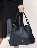 COACH Pebbled Leather Edie 31 Shoulder Bag Black Handbag Purse New