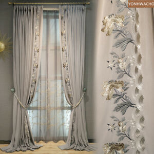 luxury gray flannel embroidered velvet cloth blackout curtain tulle panel C318