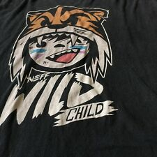 Neff T-Shirt Wild Child Tiger L Large Black Anime Skater Graphic Tee