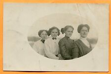 Old Real Photo Postcard View of 4 Young Women, pm Hudson, SD 1911
