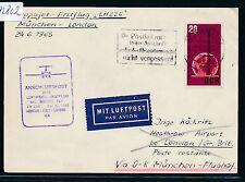 82802) LH FF München - London 24.6.65, Karte ab DDR