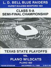 1986 Texas State AAAAA Semi Final Game Program L.D. Bell v Plano Dec. 13