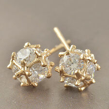Bright Ball Cubic Zirconia 9K Yellow Gold Filled Stud Earrings F3218