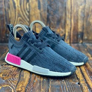 Adidas NMD R1 Primeknit Boost Women BB2364 Core Black-Shock Pink Size 7