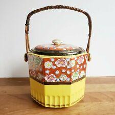 Moriyama Mori-Machi porcelain biscuit jar yellow floral split bamboo handle