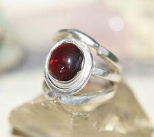 Silberring Gr. 56 Handarbeit Granat Extrem Massiv Groß Rot Ring Silber Schlicht