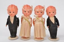 Old DECO Celluloid KEWPIE Dolls WEDDING Cake BRIDE Groom TOPPERS Crepe C.A Reed