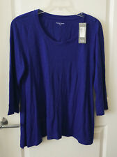 NWT Eileen Fisher Blue 100% Organic Linen Jersey Tunic M L ¾ Sleeves