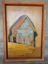 Vintage Hand Made Barn Morton Salt Advertising Relief Wood Sculpture Art Signed