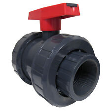 NEW SCH 80 PVC 2 INCH TRUE UNION BALL VALVE GREY NPT THREADED CONNECT NEW PVC