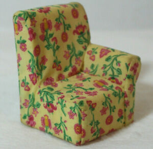 Loving Family Dollhouse One Armed Sofa Corner Chair Yellow Floral Couch Cover