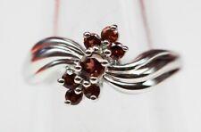 Edler 0,55 Carat Granat Ring 925 Silber blutroter Granat Größe 6 / 7 / 8 / 9