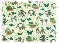 Fauna Fantasia Baumwolle Popeline weiß grün 50 cm Hilco Meterware Stoff Stoffe