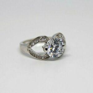 New Avon Silver Francesca Faux Diamond Solitaire Wedding Ring Sz 5 6 7 8 9 10 11