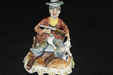 VINTAGE CAPODIMONTE N FIGURINE DUCK HUNTER DOG SHOTGUN MINT GOOSE