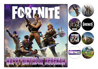 """Fortnite 2 Square Iced Icing Edible Cake Topper 7.5"""" + 8 Cupcake Toppers"""