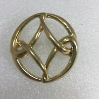 Vintage Monet Round Figural Statement Brooch Pin Gold Tone Costume Jewelry NICE