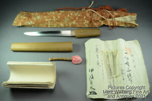 Japanese Sword / Tanto Shirasaya, SIGNED with Papers, Edo Period, Dated 1858