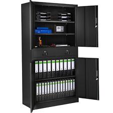 Armoire de rangement metallique 2 tiroirs 4 portes meuble de bureau 180x90x40 no