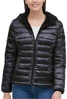 NWT! Andrew Marc Ladies Ultra Soft Hooded Reversible Jacket Black Medium S20