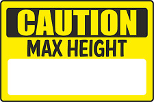Caution Maximum Height  Danger Safety Warning Sticker  Car Park Low Roof Sign