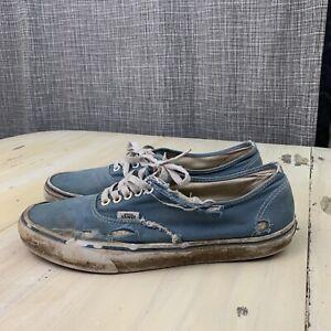 VANS - Thrashed Distressed Blue Canvas Authentic Skate Shoes, Mens 10