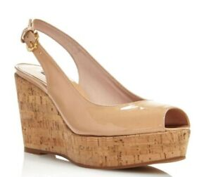 STUART WEITZMAN AUTH $399 Women Beige Patent Leather Jean Wedge Sandals Size 9.5