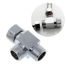 "1/2"" Brass Chrome 3 Way Diverter Hose Fitting Tee T Shape Adapter Bath Connector"