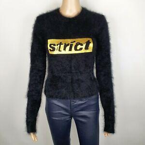 Alexander Wang Strict Womens Black Wool Fluffy Shrunken Jumper Size M UK 8
