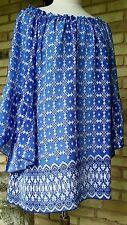 Ivy Jane xsmall  casual blue print  3/4 ruffle sleeve, tunic top