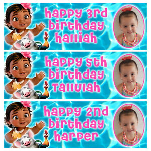 BABY MOANA Photo Personalised Birthday Banner - Birthday Party Banner - 1x3ft