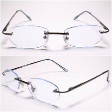 Womens Mens Oval Blue Tinted Lens Rimless 1.00 Reading Sun Glasses - MODEL2070